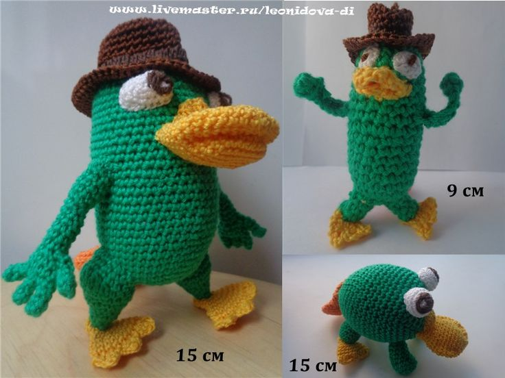 "Perry the platypus. Перри утконос из мультика ""Финес и Ферб"". Три варианта. На заказ. #amigurumi #perrytheplatypus"