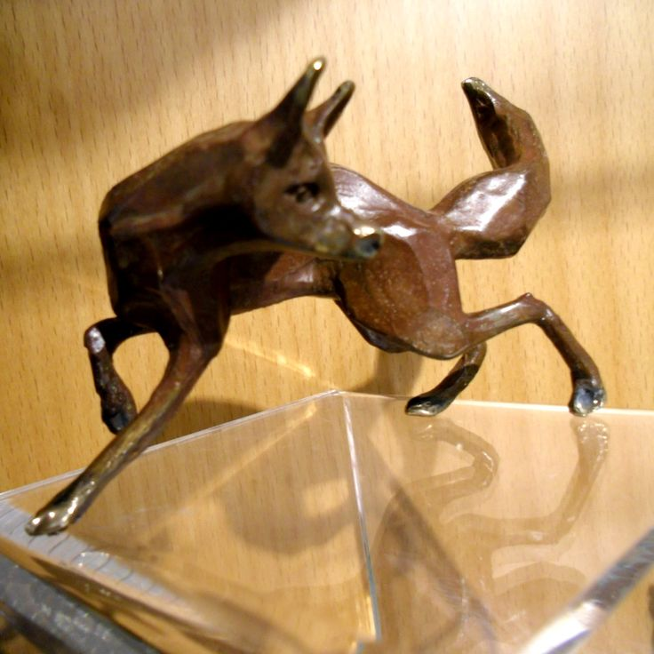 WOW! love this #bronxe of a hunting fox - less than handsize -  it is modelled to be full of life. It has a brother that is on a stand leaping up - either would make a wonderful #gift  £125 at www.thewowgallery.co.uk