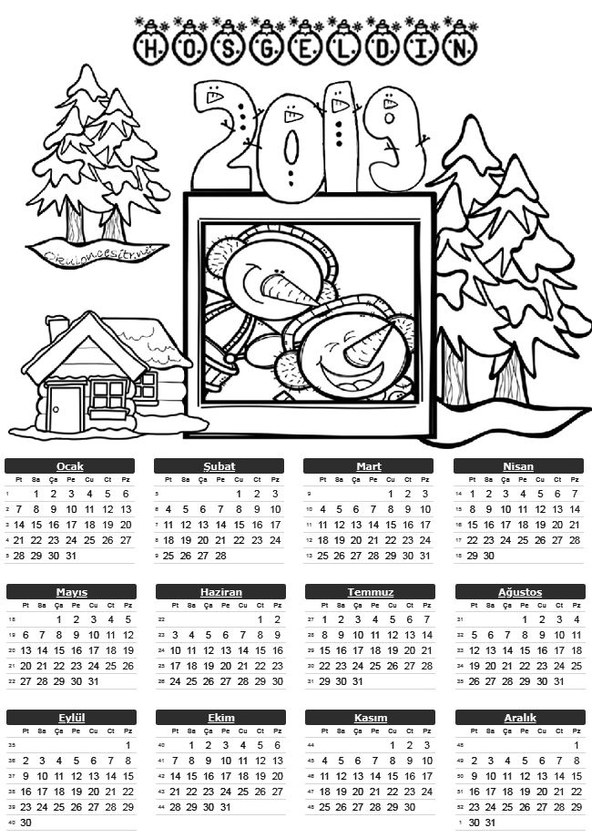2019 Tek Sayfa Takvimleri A4 Preschool Painting Christmas