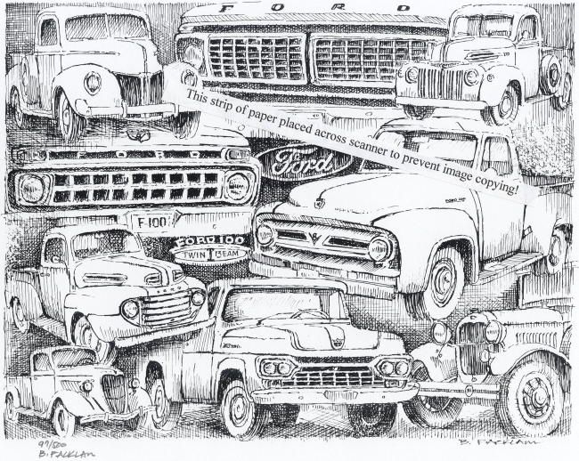 Vintage Ford Truck Collage ~ Signed Print   napa   Trucks ...