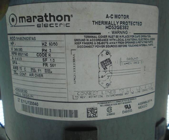 Marathon Electric 5K49ZN6287AS /  HD52GE382 Carrier HVAC motor