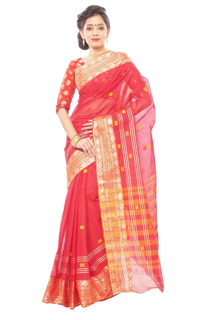 Red  color  benguli cotton saree and unstitched  blouse piece WITH Handloom mark