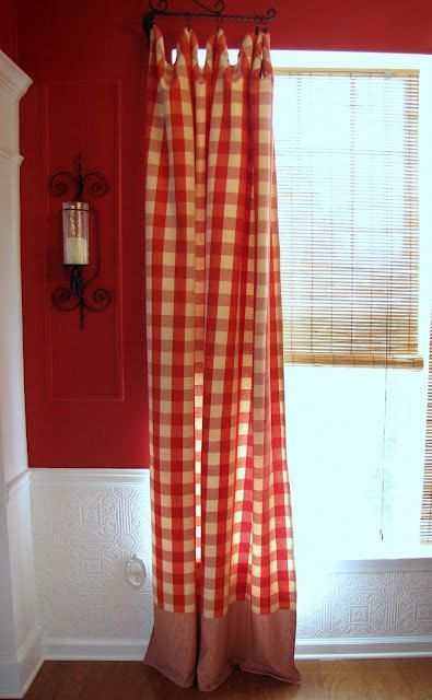 Red/Cream Buffalo Check/Waverly Curtain By Whimsyandglee