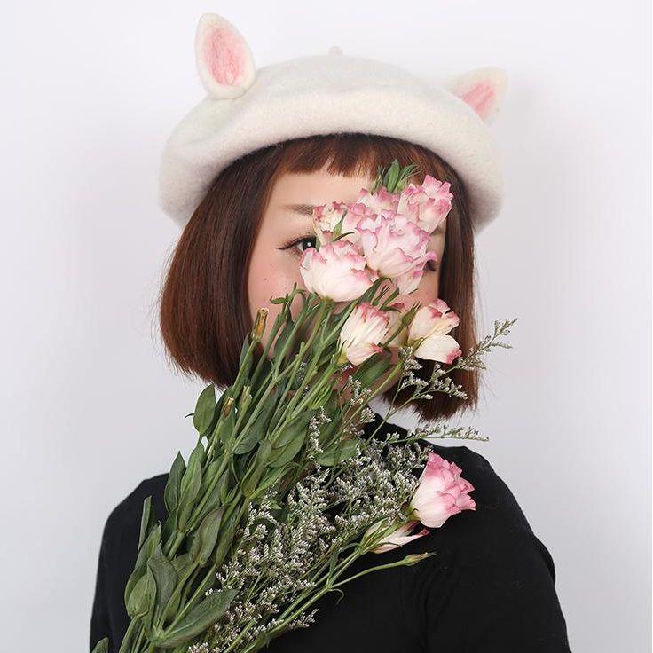 Cute handmade woolen ear cap YV16036