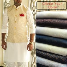 Planning for Vest Coat in your Cousin Wedding? Get it done from us at reasonable prices, with ease to chose color and style of jamavar..!! #waistcoat #vest #men #clothing #fashion #style #trend #shalwarkameez #jamawar #banarsi #jamavar
