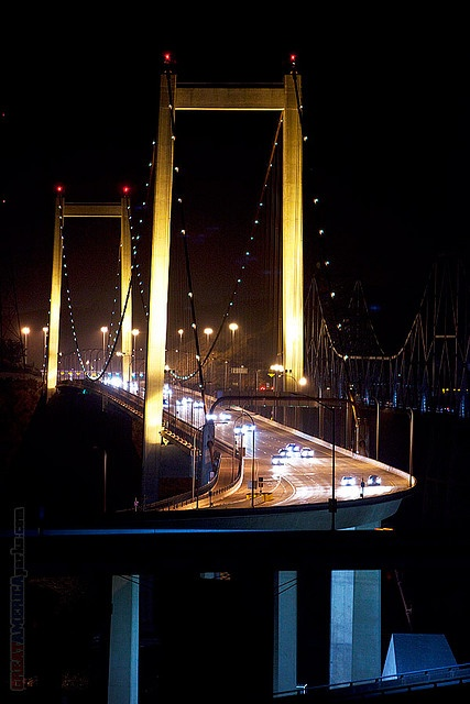 Al Zampa Memorial Bridge at night Crockett / Vallejo, California by Steven Wilson