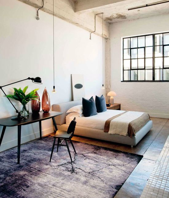The eclectic loft bedroom. Photo by Micky Hoyle for Visi Magazine.