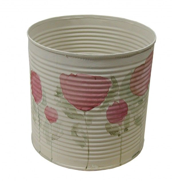 Barattolo latta papaveri rosa
