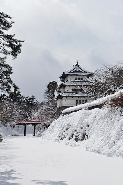 Snow in Hirosaki Castle, Aomori, Japan