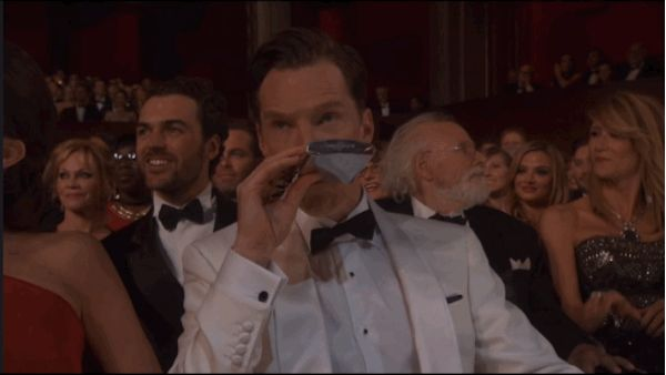 We reckon Benedict can be forgiven for this blip, seeing as he brought along a personal hip flask to the ceremony and was VERY excited to hit the dance floor. | Benedict Cumberbatch Forgot He Was Married At The Oscars