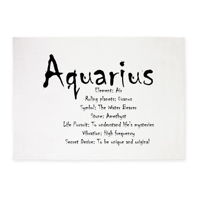 Design for the zodiacal sign of Aquarius listing the various traits associated with the sign.