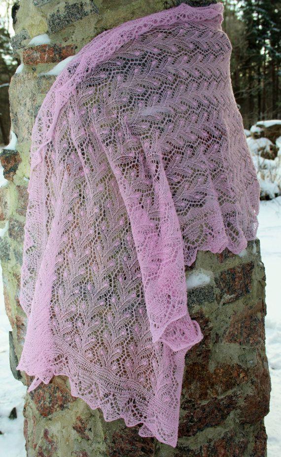 Hand knitted fine lace pink Haapsalu shawl.