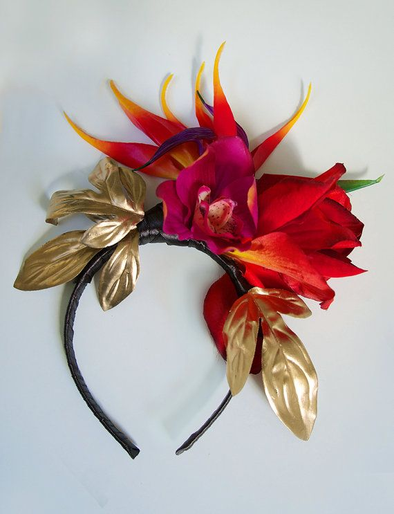 Exotic flower crown Tropical crown Bird of paradise floral headband Tropical flowers bridal flower crown Red flower crown Tropical wedding Bright tropical flower crown made of one real touch Bird of Paradise, red Amaryllis, Fuchsia orchid and gilded peony leaves. Attached to a light headband covered with silky dark chocolate ribbon.  Would make a perfect bridal accessory for a tropical / exotic / island wedding.  Also good for Bachelorettes, festivals, parties, photoshoots etc!    It can be…