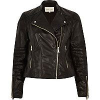 Black leather zip detail biker jacket