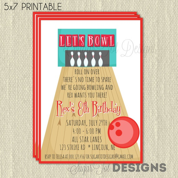 26 best Bowling party invites images on Pinterest Birthdays - bowling flyer template free