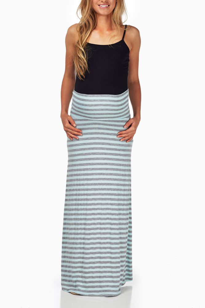 Aqua-Grey-Striped-Maternity-Maxi-Skirt #maternity #fashion