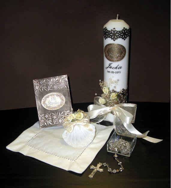 Personalized Baptism Candle Gift Set