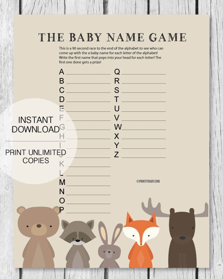 Printable Baby Shower Name Game - Baby Shower Names A to Z - Woodland Theme. Have guests race to write down a baby name for each letter of the alphabet! Instant Download - PrintItBaby.com