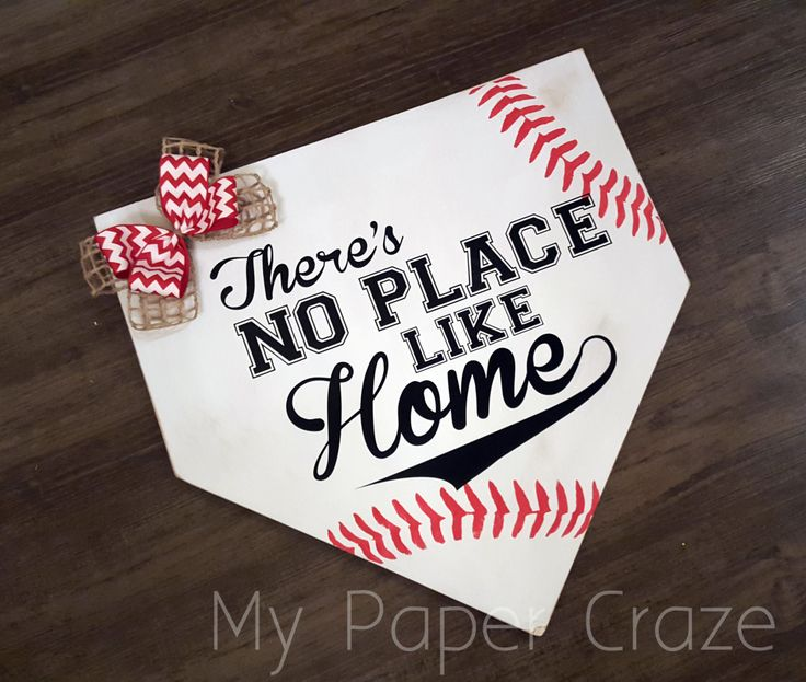 home plate and baseball - There's No Place Like Home Baseball Door Hanger