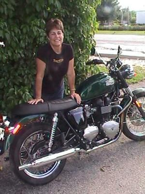 Lynns Triumph: Growing up in the Mojave Desert of Southern California, I rode dirt bikes and raced moto cross for years in my youth.  I retired from riding to be a Mom