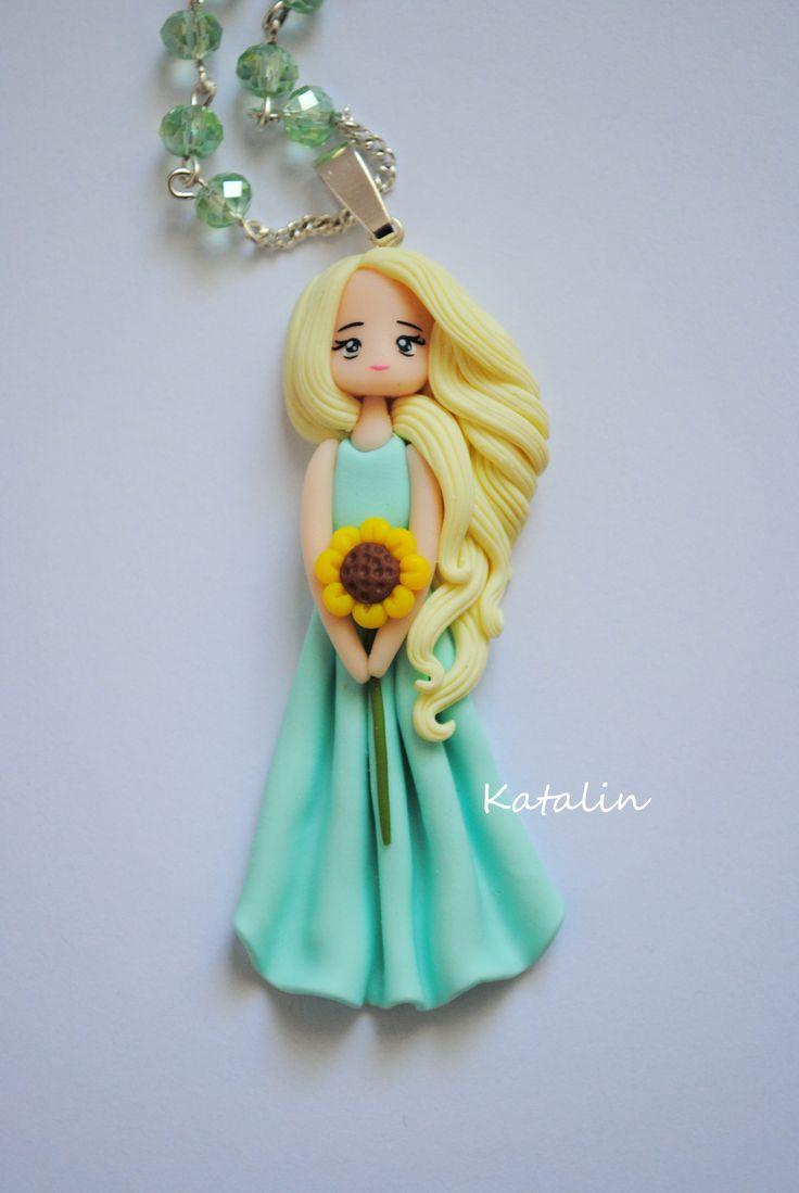 Lady Summer kawaii chibi doll polymer clay fimo necklace. By Katalin Handmade (2013) so cute