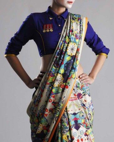 Multi-Colored Art Filled Printed Crepe Saree: