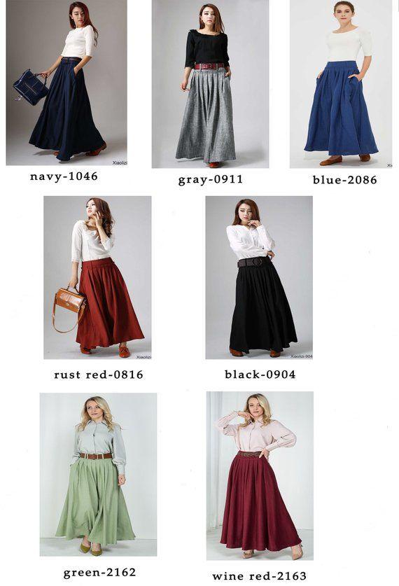 meet 331ac 23ac1 Linen skirt, Maxi skirt, linen pleated skirt, long linen ...