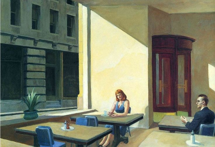 Edward Hopper (1882–1967), Sunlight in a Cafeteria, 1958. oil on canvas, 40 3/16 x 60 1/8 inches