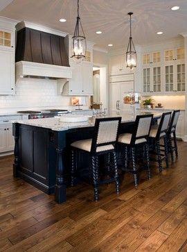 Hickory flooring- med/dark custom stain. LOVE those pendant lights as well!