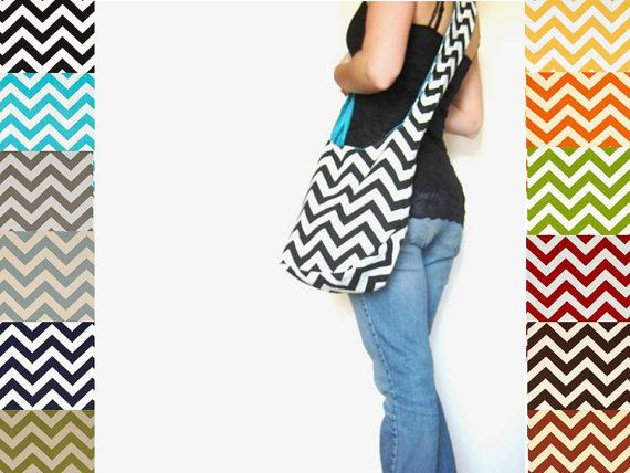 Chevron Purse. Boho Bag. Cross Body Hobo Bag. 12 Chevron Fabric Choices. Reversible Purse. Mix n Match Chevron and Solids. Summer Line. on Etsy, $44.00