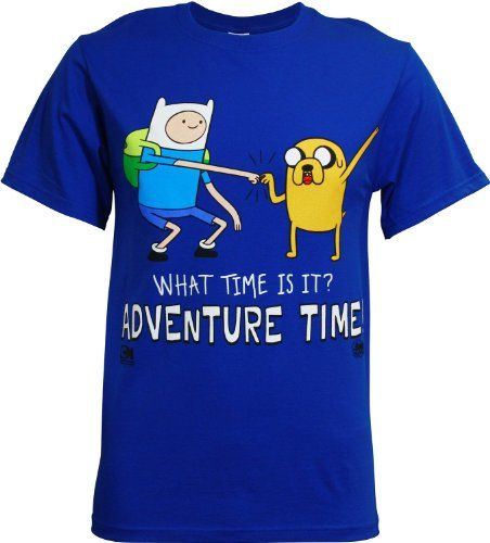 Adventure Time with Finn & Jake Standing Dap What Time Is It? Royal Blue Adult T-shirt (Adult Small) @ niftywarehouse.com #NiftyWarehouse #AdventureTime #TVShow #Cartoon #Show #CartoonNetwork