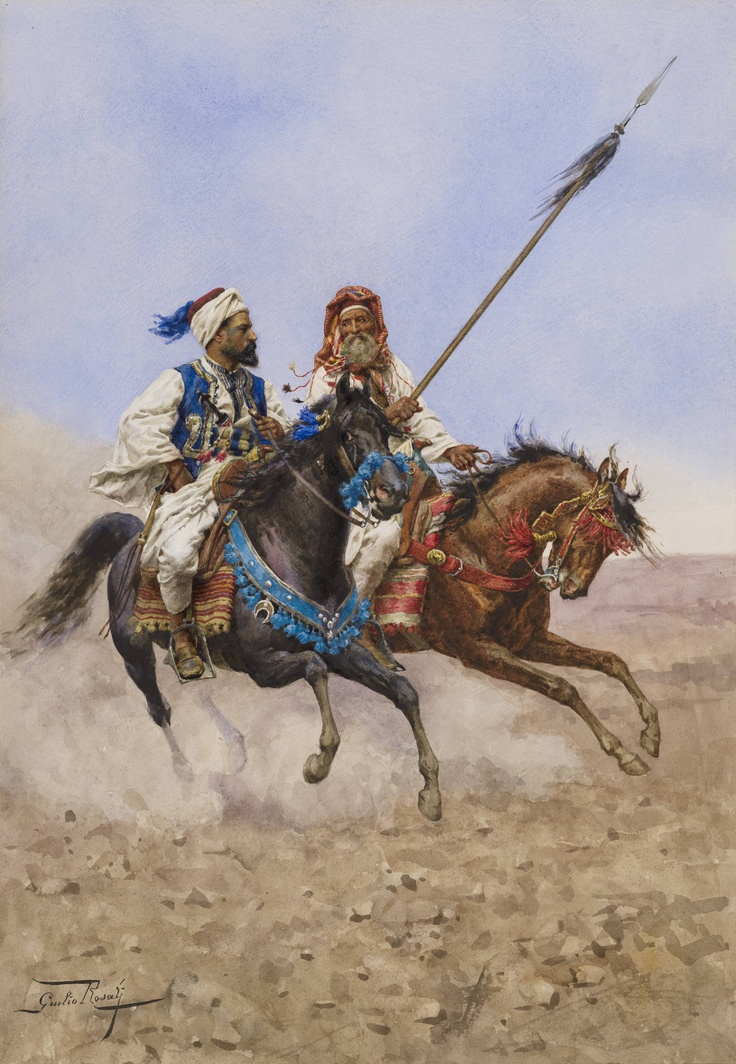 Two Horsemen at Full Gallop in the Desert by the Italian painter Giulio Rosati (1858-1917). Find out about this picture at http://secretagentmarketing.wordpress.com