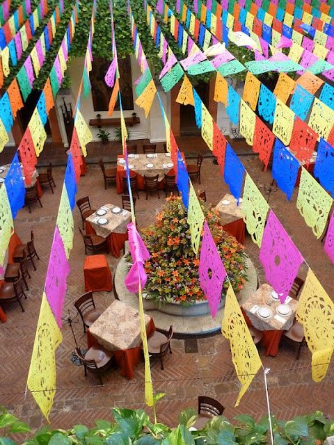 mexican theme wedding reception | Attach the flag strands ...