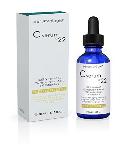Vitamin C serum 22 by serumtologie-Anti Aging Moisturizer-Evidence Based Pro Formula 22% Vit. C + 5% HA + 1 % Vit. E + 1% Ferulic Acid=Max. Concentration of Clinically$35.00  http://www.amazon.com/gp/product/B00JLPM8AK?ie=UTF8&camp=1789&creativeASIN=B00JLPM8AK&linkCode=xm2&tag=daily0714-20
