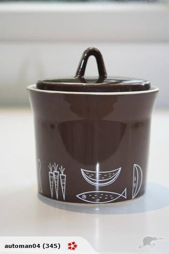 Jam pot in Navrik was designed by Don Mills as part of a public competition run by Crown Lynn, this design was runner up in the competition, but went into production and proved very popular.