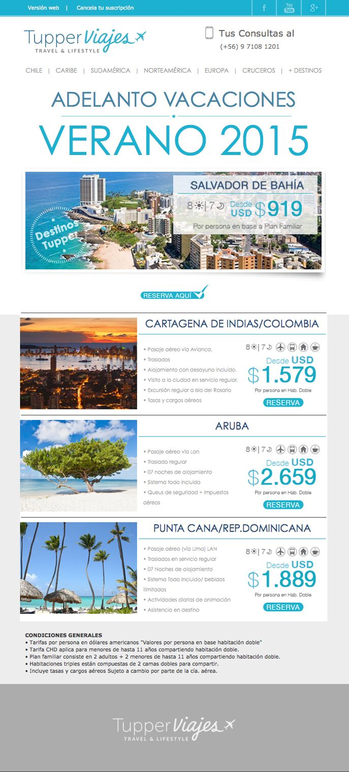 Aprovecha de Organizar tus Vacaciones 2015. Solo envía tu mail a lfigueroa@tupperviajes.cl