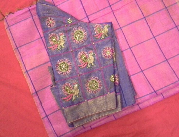 Uppada pattu saree with checks and blouse with maggam work 7702919644