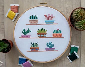BUY 2 GET 1 FREE Cactus Cross Stitch Pattern pdf counted