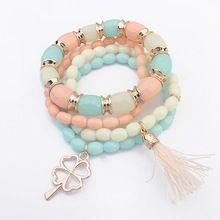Bohemian clover borda i braccialetti elastici multistrato nappa braccialetti & braccialetti per le donne regali di san valentino all'ingrosso(China (Mainland))