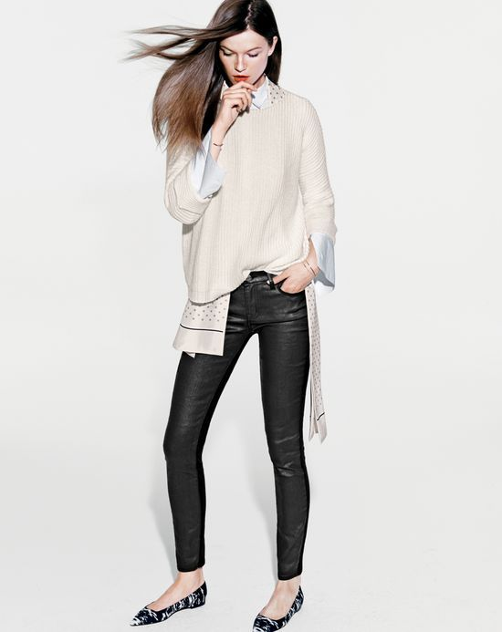 J.Crew women's toothpick jeans, rolled sleeve sweater, and Harper flats.