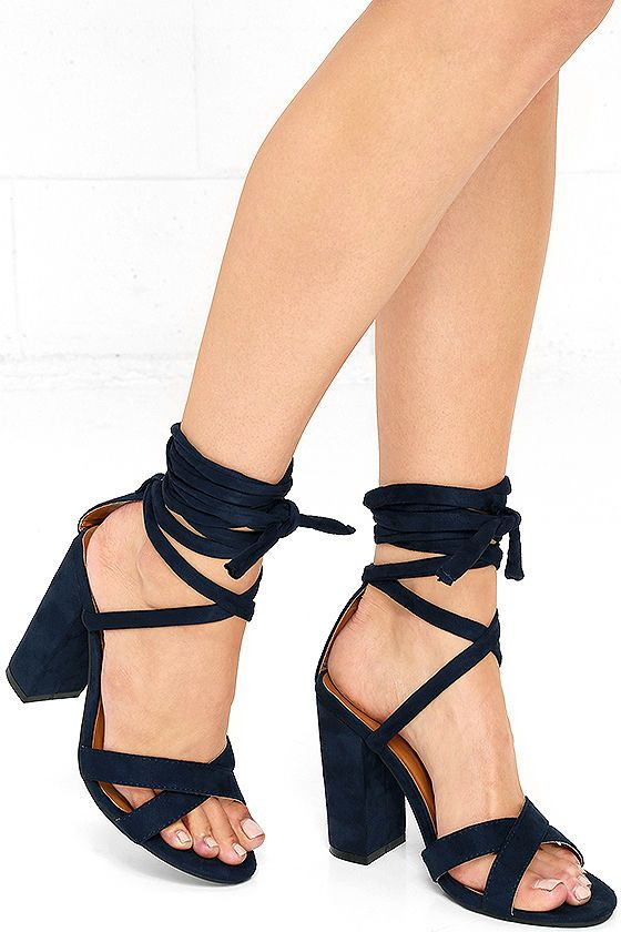 The Hop, Skip, and a Leap Navy Blue Suede Lace-Up Heels are all energy and good vibes! Crisscrossing toe straps and long lace-up straps…
