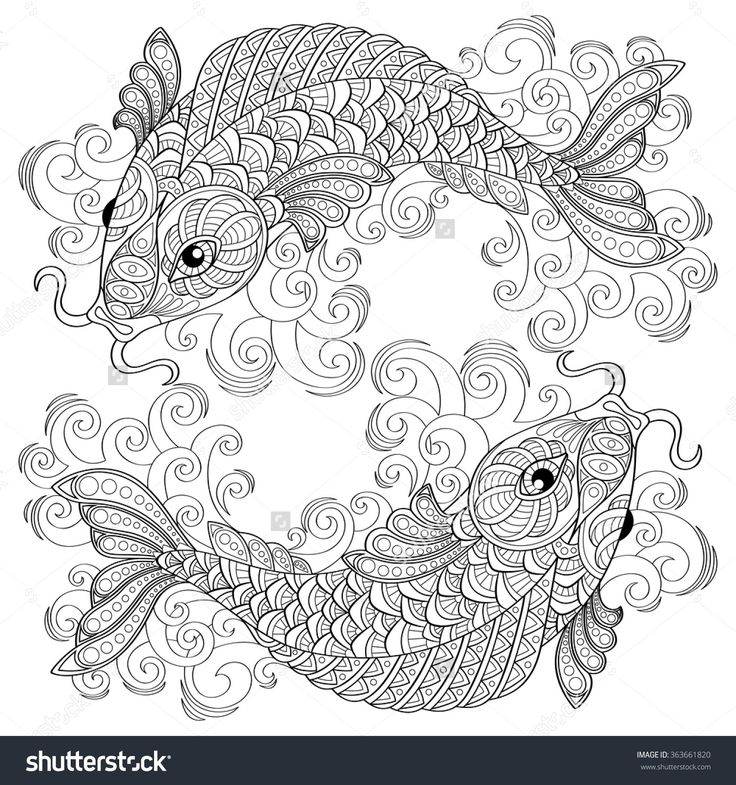 Koi Fish Chinese Carps Pisces Adult Antistress Coloring