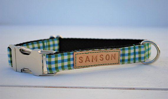 Green gingham dog collar, blue gingham dog collar, plaid dog collar, blue and green collar, boyish dog collar, spring plaid dog collar