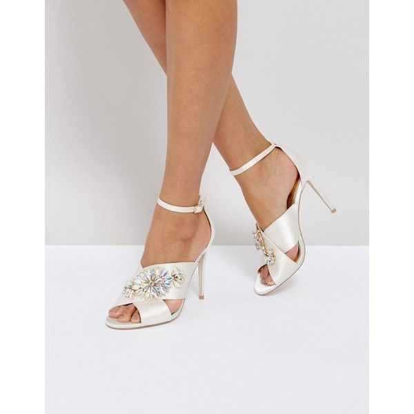 ASOS HOLY GRAIL Bridal Embellished Heeled Sandals ($78) ❤ liked on Polyvore featuring shoes, sandals, white, ankle strap heel sandals, strap heel sandals, strappy high heel sandals, peep toe sandals and strap sandals