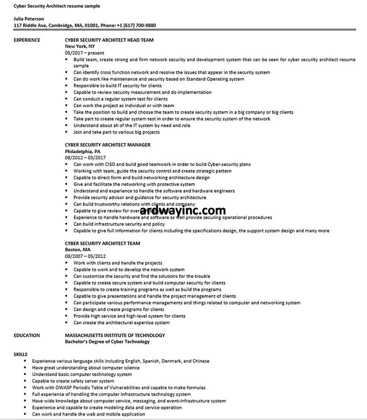 Cyber security architect resume sample architect resume