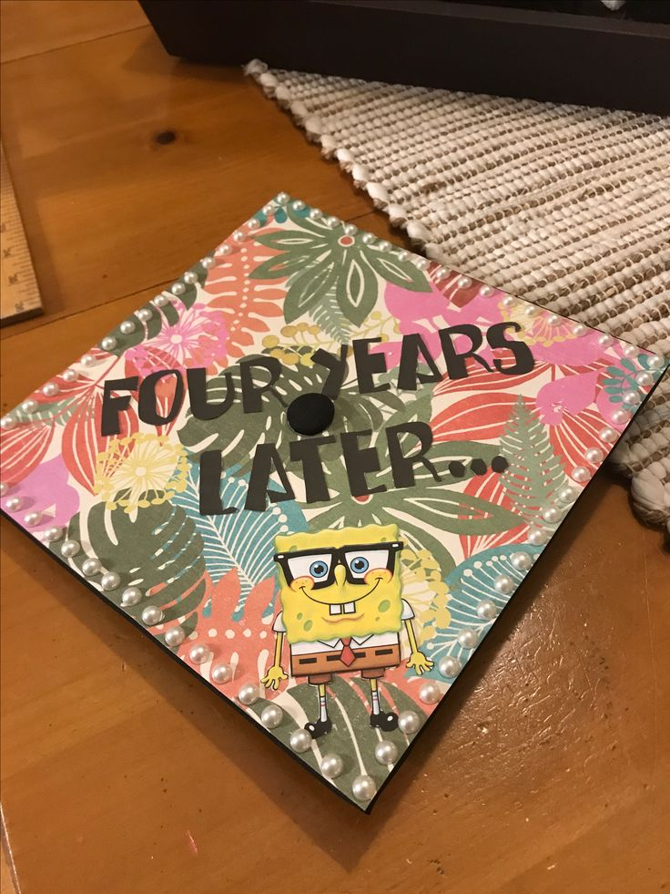 SpongeBob decorate graduation cap. Four years later! 🎓🎉