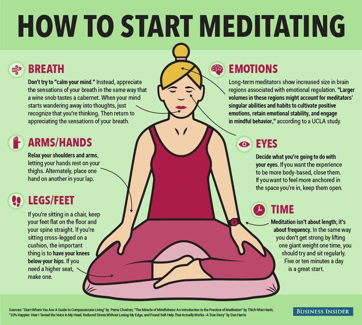 "How to Start Meditating by businessinsider: It can be intimidating to start...Enter this infographic, which combines advice from some of the best books on meditation, like ""The Miracle of Mindfulness"" by Thich Nhat Hanh, ""Start Where You Are"" by Pema Chodron, and ""10% Happier"" by Dan Harris. #Infographic #Meditation"