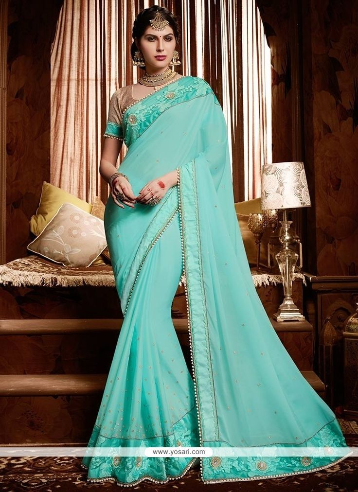 Observable Satin Turquoise Patch Border Work Classic Designer Saree Model: YOSAR9105