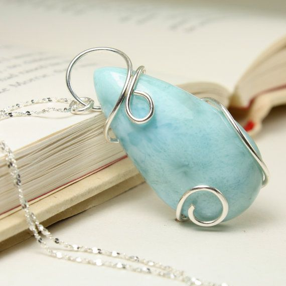 Aqua Larimar Teardrop Wire Wrapped Pendant, Handmade In Sterling Silver,  Includes Sterling Silver Necklace!!!