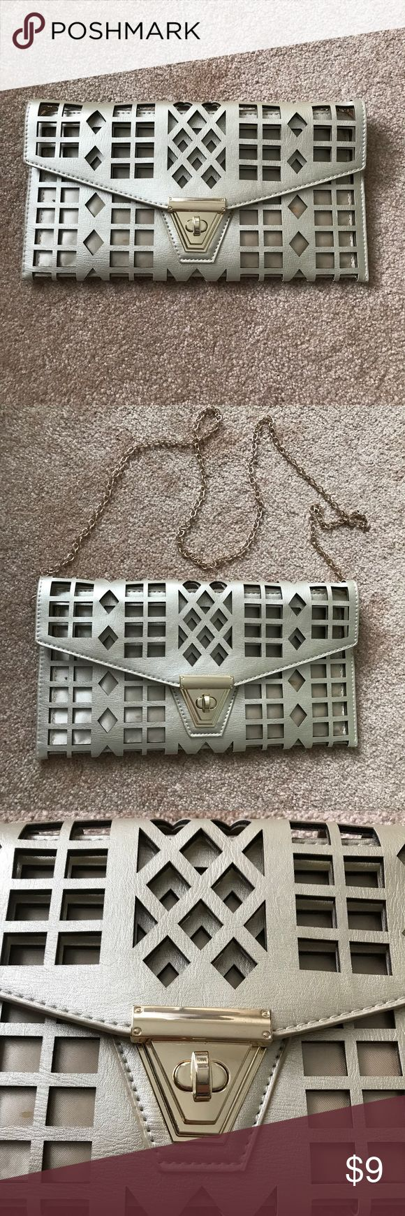 """MMS (Target 🎯) large gold cutout clutch MMS gold clutch. Laser cut cutouts. Large size - apprx 6""""x12"""". Removable gold chain strap. Beautiful clutch. Has small marks on lining (see last 3 photos). MMS Design Studio Bags Clutches & Wristlets"""